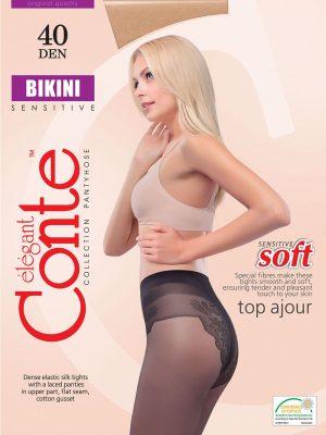 Ciorap Elastici cu Chilot Dantelat Bikini 40 Den Conte Elegant