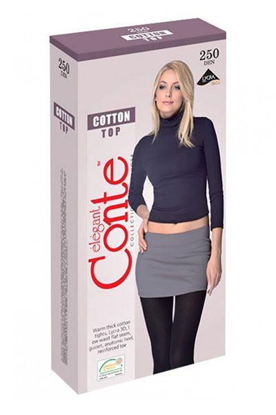 Ciorap Gros de Bumbac cu Talie Joasă și 3D Lycra Cotton Top 250 Den Conte Elegant