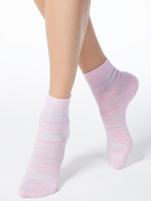 Șosete Subțiri de Bumbac cu Benzi Multicolore, CLASSIC 088 Conte Elegant Roz Deschis Model