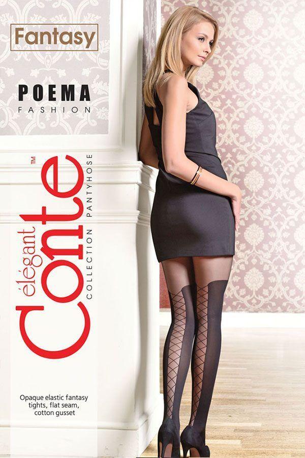 Ciorap cu model, imitație bandă adezivă cu șnur, Fantasy Poema