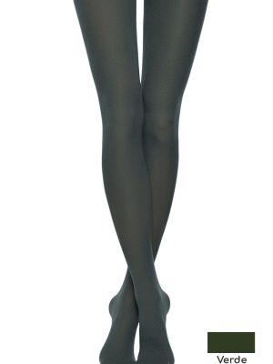 Ciorap gros cu model din Microfibră cu Efect 3D, Fantasy Ofelia Verde