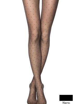 Ciorapi subțiri cu model, buline polka, Fantasy Dots Nero