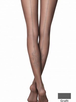 Ciorapi subțiri cu model floral, dungă spate Lurex, Fantasy Party Lux, Conte Elegant, Grafit