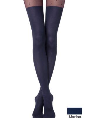 Dres elastic cu model, picățele și imitație de golf, Fantasy Sensation, Conte Elegant Marino