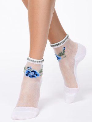 Șosete Poliamidă 1-2 cu model floral și picot lurex, Fantasy 138, Conte Elegant