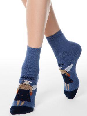 Șosete flaușate antiderapante cu model îngeraș, Happy 291, Conte Elegant
