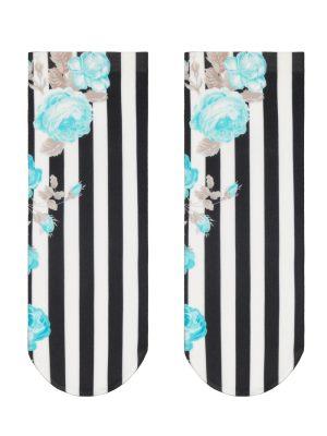 Șosete poliamidă 1-2 cu model dungat și floral, Fantasy 009, Conte Elegant model