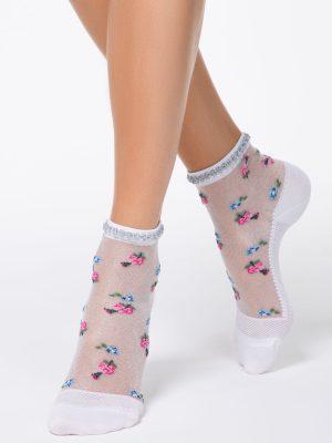 Șosete poliamidă 1-2 cu model floral și picot din lurex, Fantasy 137 Conte Elegant