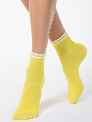 Șosete subțiri de bumbac cu elastic decorativ, Classic 010, Conte Elegant Galben