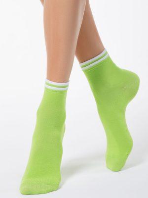 Șosete subțiri de bumbac cu elastic decorativ, Classic 010, Conte Elegant Verde Lime