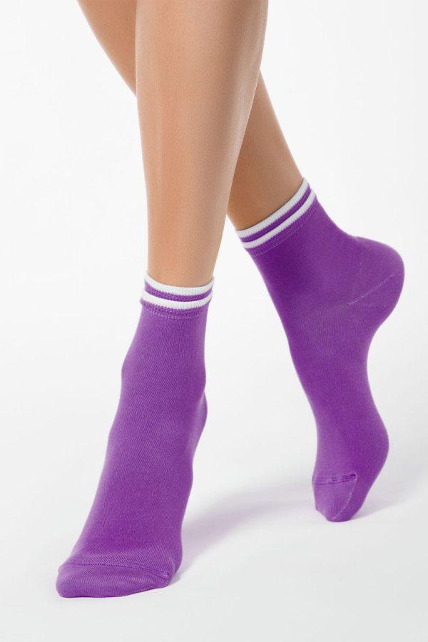 Șosete subțiri de bumbac cu elastic decorativ, Classic 010, Conte Elegant Violet