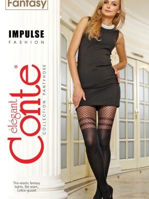 Ciorap cu model imitație bandă adezivă și plasă, Fantasy Impulse, Conte Elegant