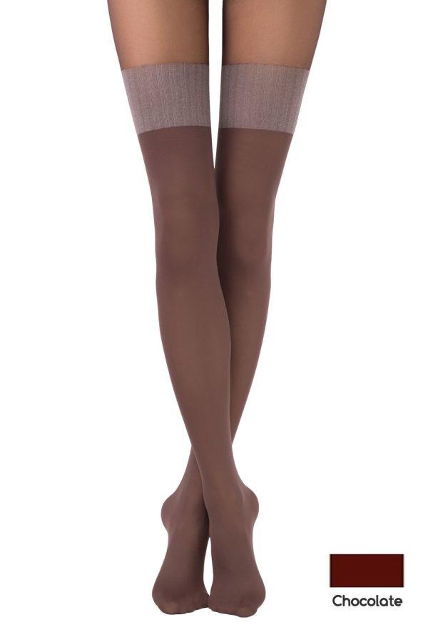Ciorap cu model imitație jambiere, Fantasy Twice, Conte Elegant Chocolate