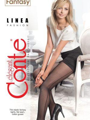 Ciorap cu model plasă și dungă spate, Fantasy Linea, Conte Elegant