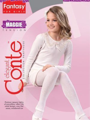 Ciorapi copii groși cu model floral, Maggie 50 Den, Conte Elegant