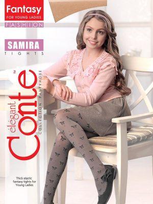 Ciorapi copii groși cu model fundițe și ștrasuri, Samira 50 Den, Conte Elegant