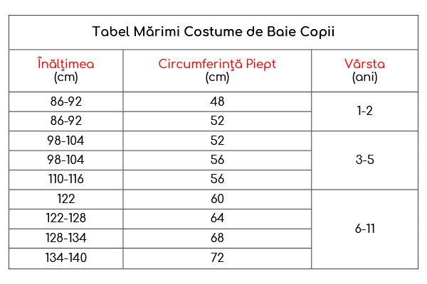 Ghid mărimi Costume de Baie Copii Conte Elegant
