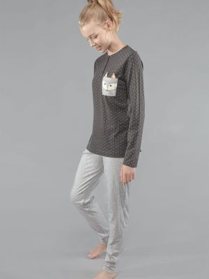 Set pijama cu buline și imprimeu vulpe, Gisela 2-1535 model fata
