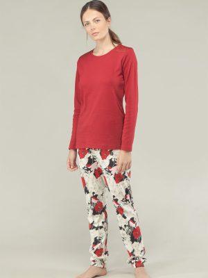 Set pijama cu dantelă și imprimeu floral Rojo, Gisela 3-1517 fata