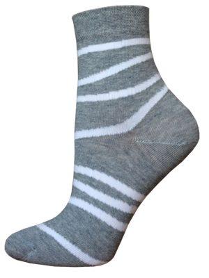 Șosete damă din bumbac cu dungi, Bchk Classic 1100-062 Gri