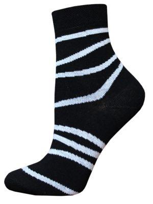 Șosete damă din bumbac cu dungi, Bchk Classic 1100-062 Negru