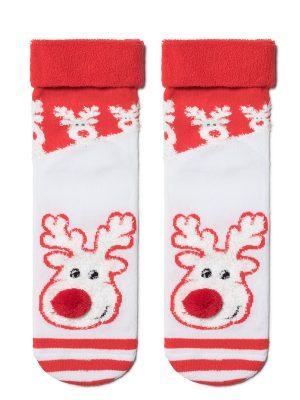Șosete crăciun cu talpă flaușată, model Rudolph cu pompon, Conte Elegant 444