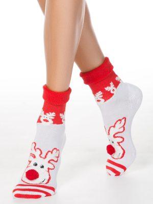Șosete crăciun cu talpă flaușată, model Rudolph cu pompon, Conte Elegant 444 model