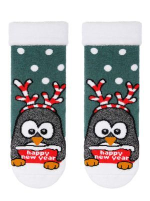 Șosete damă flaușate de Crăciun cu model pinguin, Conte Elegant 379