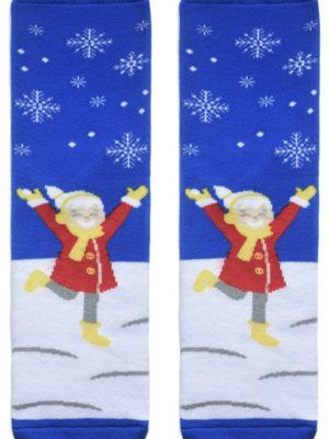 Șosete flaușate de bumbac cu model fetiță, Conte Lapland 015