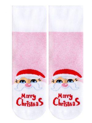 Șosete groase bumbac, flaușate, model de Crăciun cu lurex, Conte Kids 301 fata