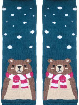 Șosete haioase și flaușate de Crăciun cu model Ursuleț, Conte Lapland 061
