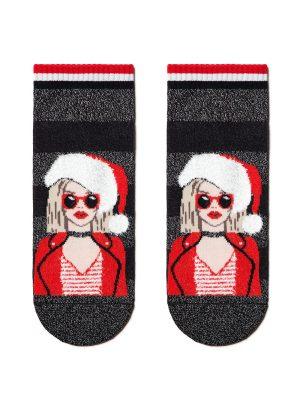 Șosete haioase Crăciun cu lurex și strasuri, model Miss Santa, Conte Elegant 162