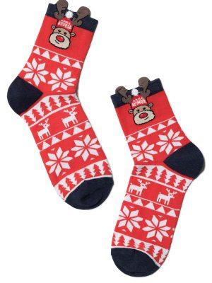 Șosete haioase Crăciun , model Rudolph cu ornament, Conte Elegant 445
