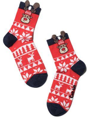 Șosete haioase Crăciun, model Rudolph cu ornament, Conte Kids 445