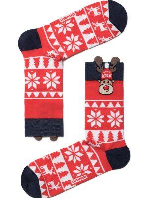 Șosete haioase Crăciun, model Rudolph cu ornament, DiWaRi 445