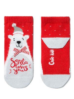 Șosete haioase bumbac, cu urs polar și fundiță, Conte Kids 383
