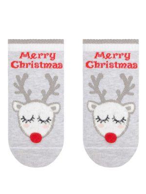 Șosete scurte bumbac, ren cu pompon motiv Crăciun, Conte Kids 384 principala