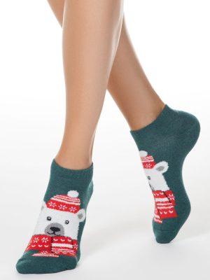 Șosete damă de Crăciun cu model Urs Polar, Conte Elegant 442