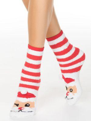 Șosete flaușate haioase damă, model Santa cu pompon, Conte Elegant 448