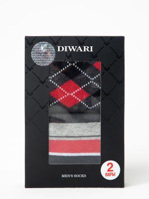 Șosete bumbac cu model DiWaRi 719 (2 perechi) cutie