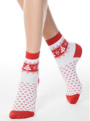 Șosete flaușate cu motiv de Crăciun, Conte Elegant Comfort 080 Alb Rosu