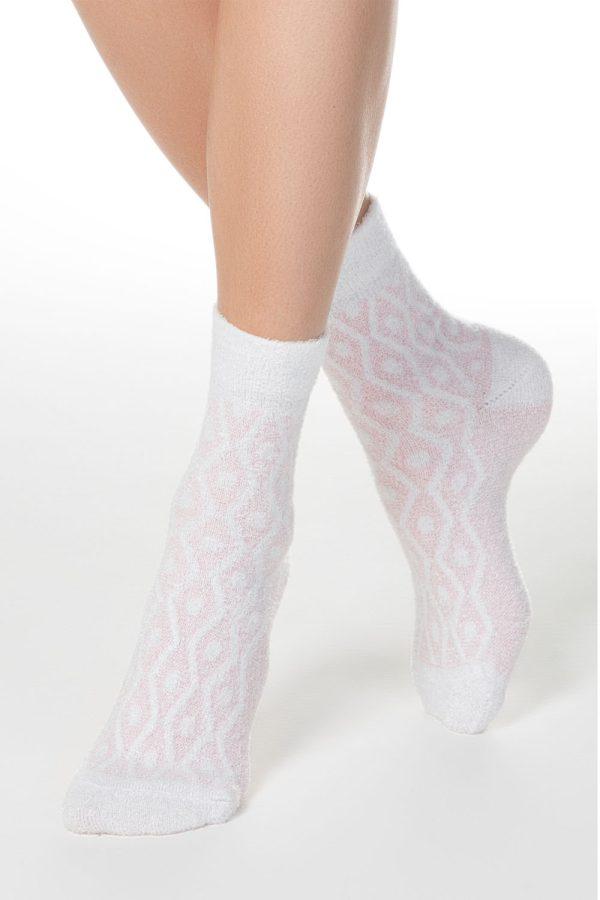 Șosete groase cu model romburi, Conte Elegant Comfort 135 Roz deschis