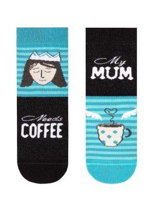 Șosete haioase My Mum needs Coffee, Funny Legs 337 turcoaz