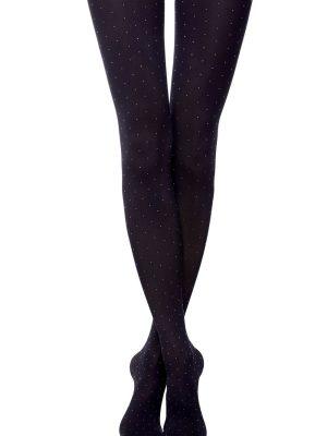 """Ciorap cu model """"Puncte""""pe tot piciorul, Conte Elegant Fantasy Point Nero"""