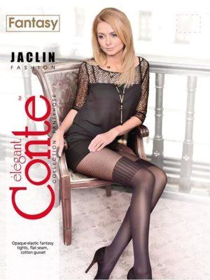 Ciorap cu model imitație bandă adezivă și plasă, Conte Fantasy Jaclin