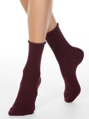 Șosete damă din bumbac fără elastic, Conte Elegant Comfort 000 Model Bordo