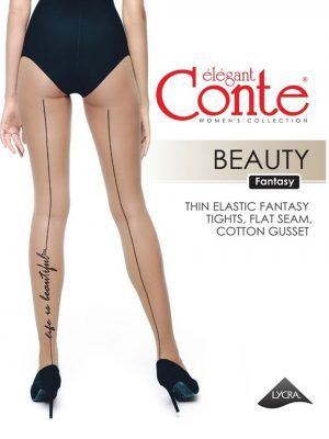 Ciorap cu model imitație șnur și tatoo Life is beautiful, Conte Fantasy Beauty