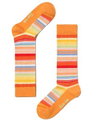 Șosete lungi 34 copii colorate si dungate, Tip-Top 024 Orange
