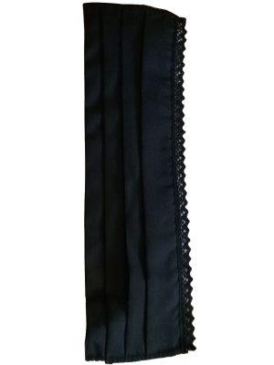 Masca protectie din bumbac reutilizabila din fata neagra cu dantela