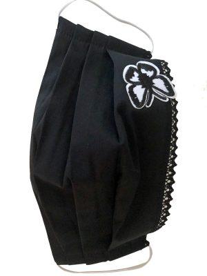 Masca protectie din bumbac reutilizabila din fata neagra cu dantela si fluture pliata